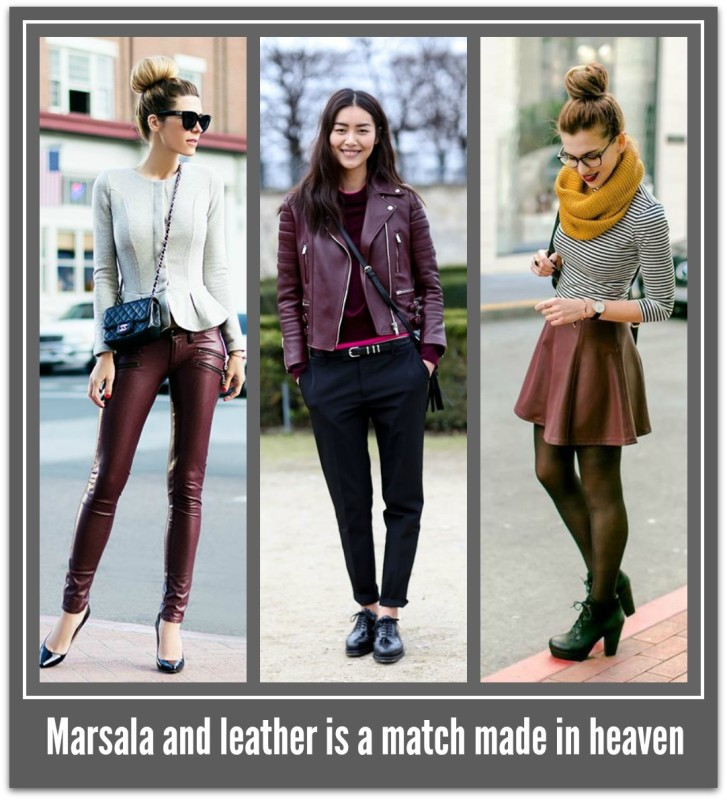 Marsala and leather