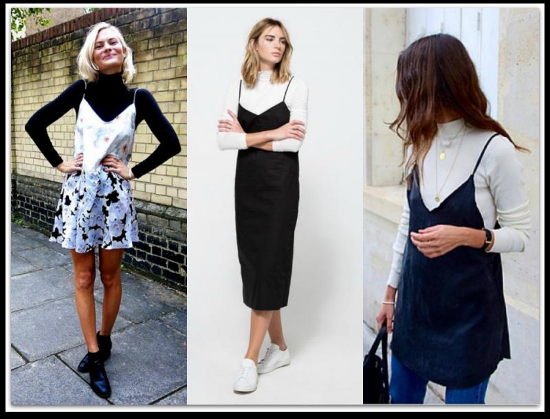 Slip dresses and Turtlenecks
