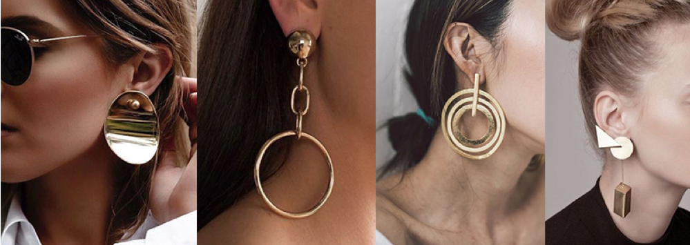 gold statement earring for summer 2018 trend